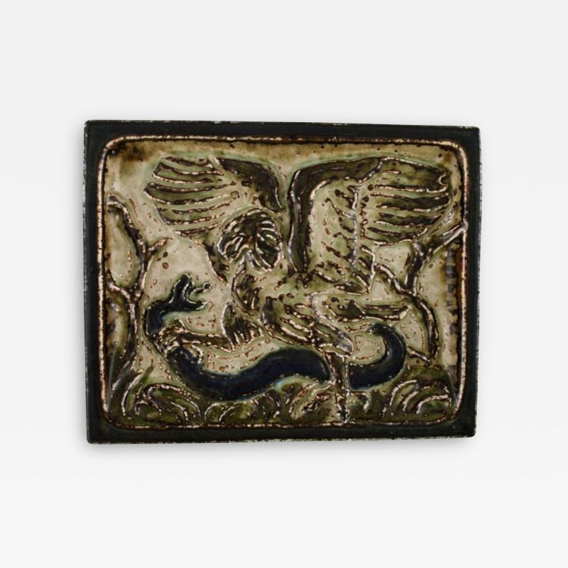 Royal Copenhagen Wall plaque in glazed stoneware with eagle and snake in relief