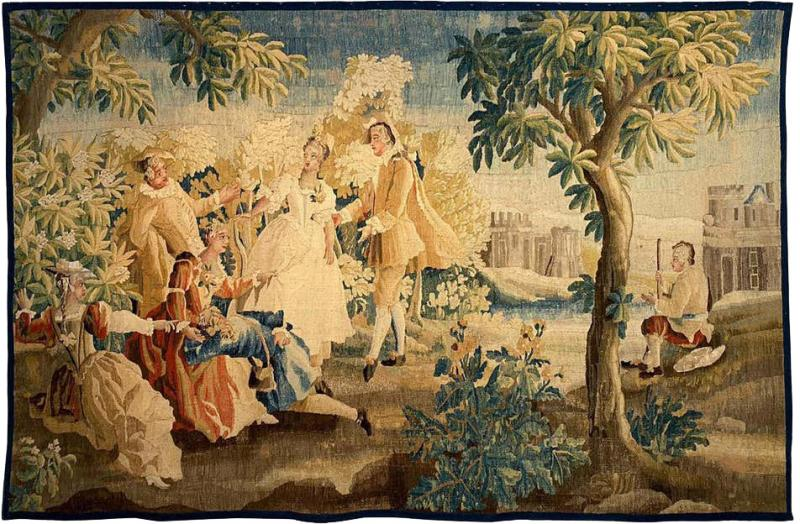 Royal Manufacture of Aubusson Sublime Aubusson Tapestry 18th Century Louis XVI Period Romantic Scene