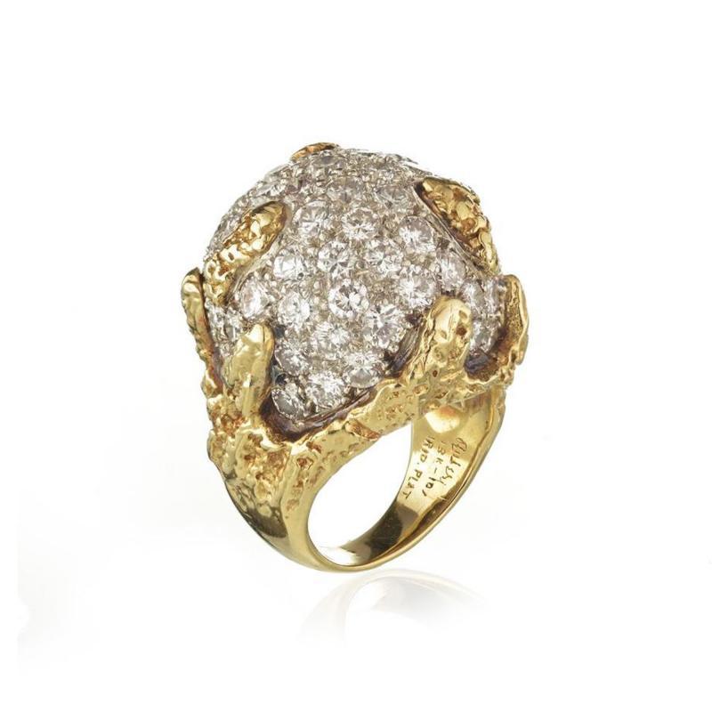 Ruser Jewelry William Ruser RUSER DIAMOND DOME PLATINUM 18K YELLOW GOLD BOMBE 6 00CTTW RING