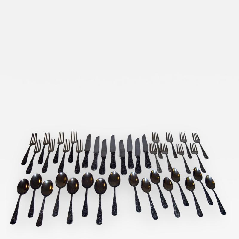 S Kirk Sons Repousse by Kirk Sterling Silver Flatware 40 Piece Dinner Service for Eight