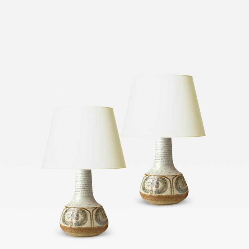 S holm Stent j Soholm ceramics Pair of Mod Hand Thrown and Painted Lamps by Soholm Stentoj