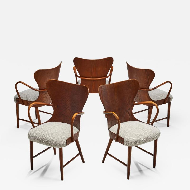 S ren Hansen Soren Hansen Set of Five Armchairs by S ren Hansen for Fritz Hansen Denmark 1943
