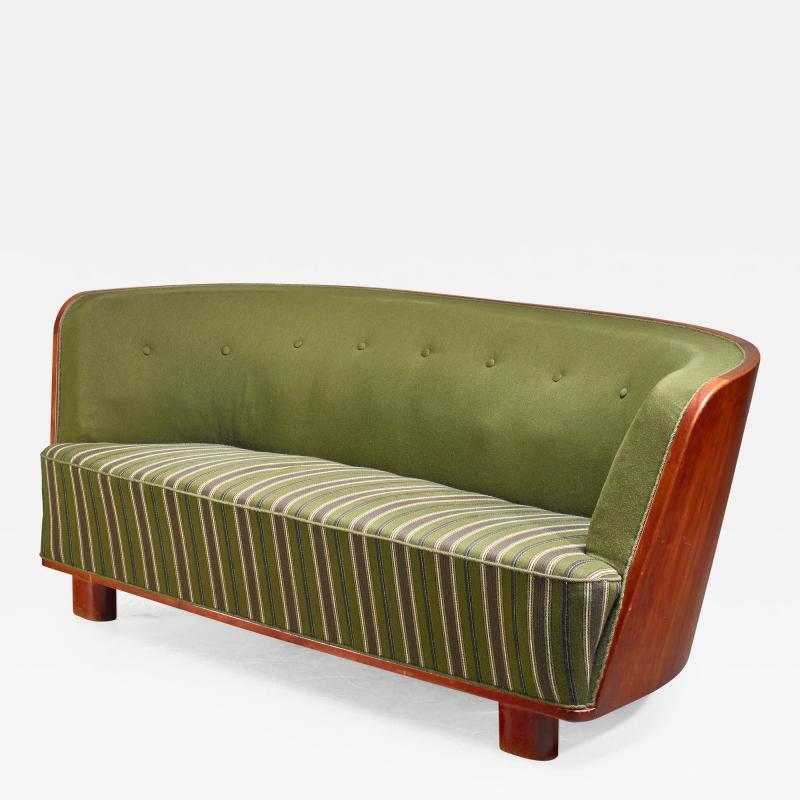 S ren Willadsen S ren Willadsen walnut and fabric sofa Denmark 1940s