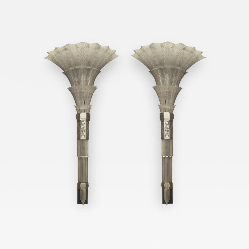 Sabino Art Glass Pair of French Art Deco Monumental Flair Shaped Glass Wall Sconces