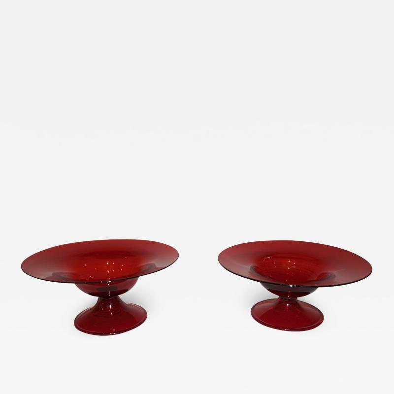 Salviati Salviati 1940s Italian Pair of Antique Ruby Red Blown Murano Glass Compote Bowls