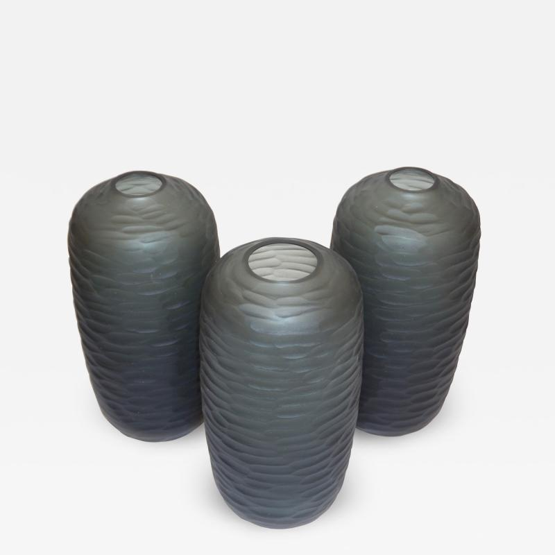Salviati Salviati Vintage Italian Minimalist Smoked Gray Battuto Murano Art Glass Vases