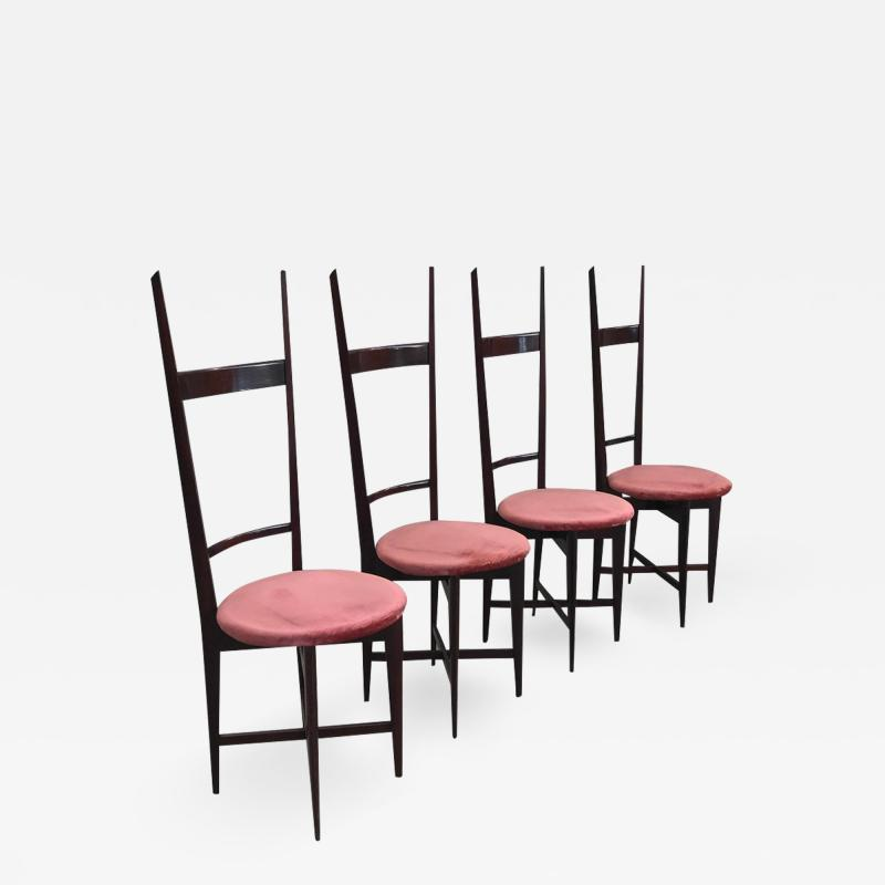 Santambrogio De Berti Charming Set of Four Dining Chairs by Santambrogio e De Berti
