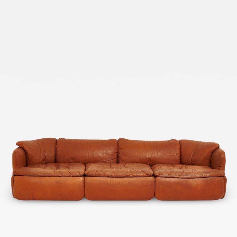 Saporiti Alberto Rosselli for Saporiti Brown Leather Confidential Sofa 1970 s