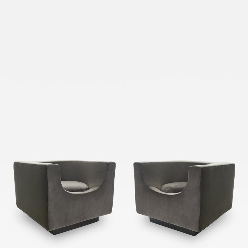 Saporiti Bernard Govin for Saporiti 1970s Cube Armchair Pair