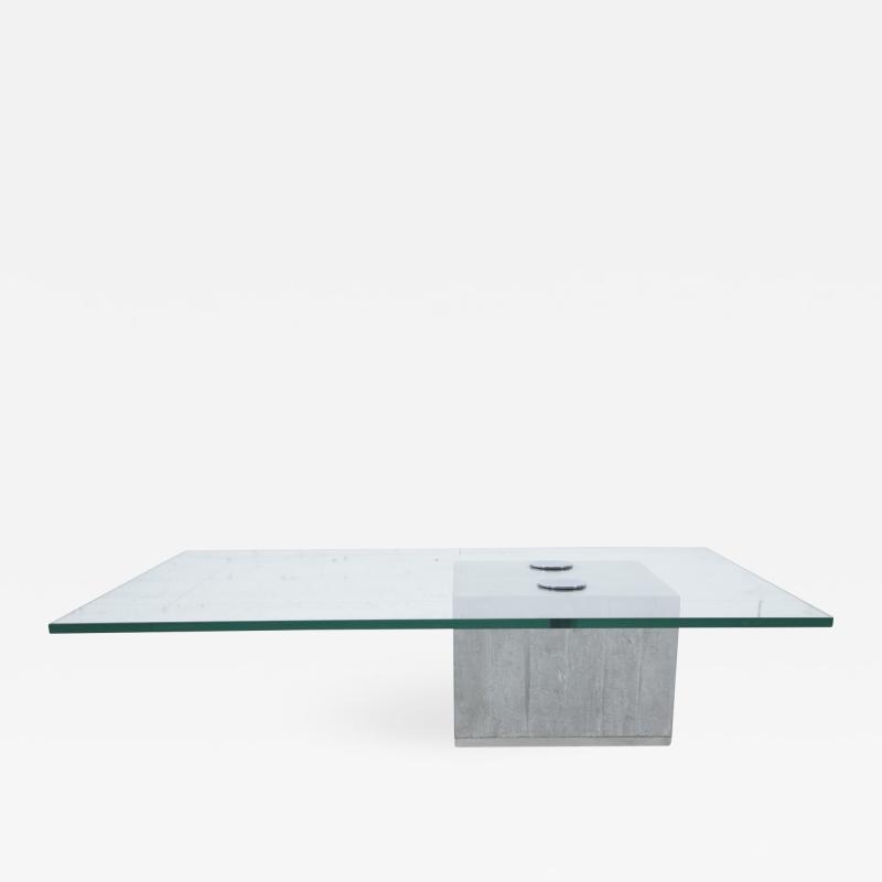 Saporiti Concrete and Cantilevered Glass Coffee Table Sergio Giorgio Saporiti Italy