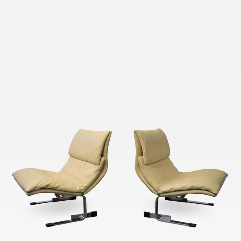 Saporiti Pair of Leather Saporiti Onda Wave Lounge Chairs