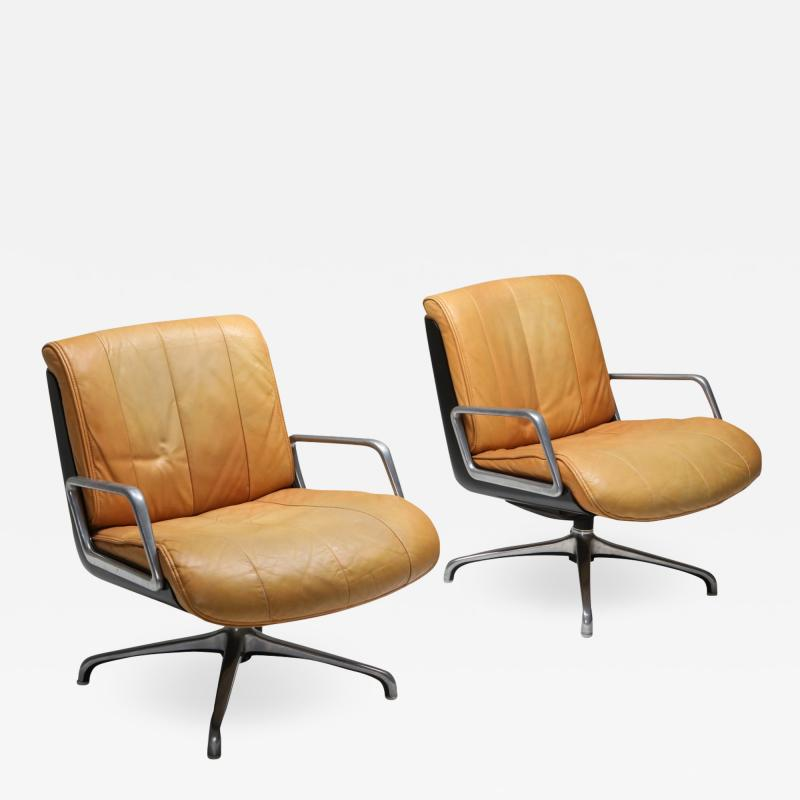 Saporiti Saporiti Cognac Leather Lounge Chairs 1970s