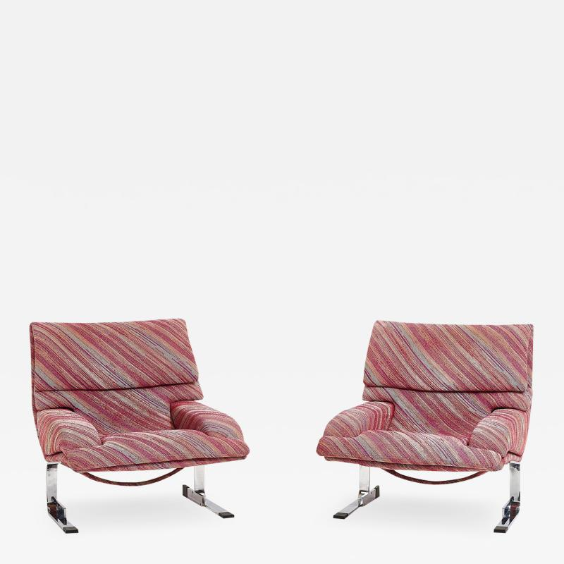 Saporiti Saporiti Onda Lounge Chairs Missoni Fabric circa 1970 s