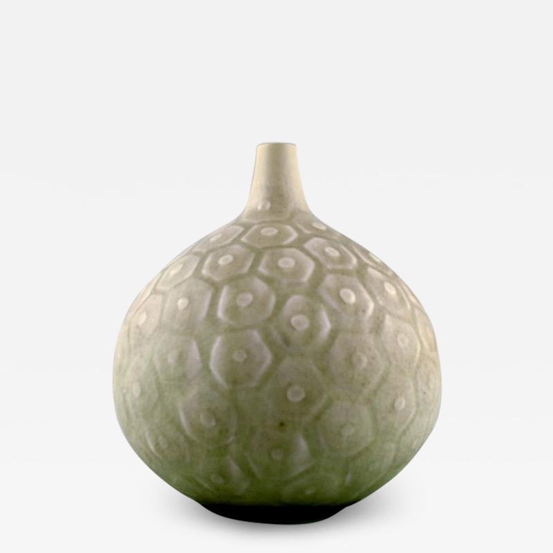 Saxbo Large round vase with geometric pattern Narrow neck