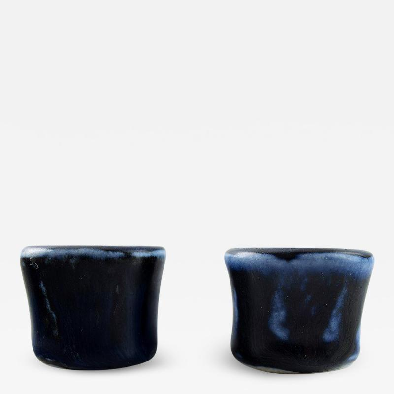 Saxbo Pair of candlesticks art pottery