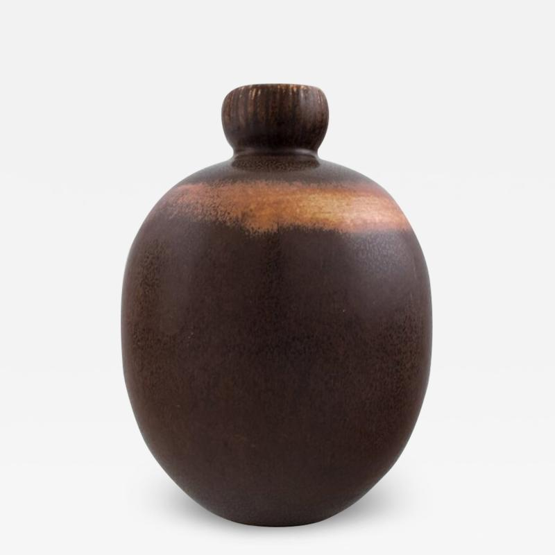 Saxbo Saxbo Rarely shaped vase decorated with dark brown glaze