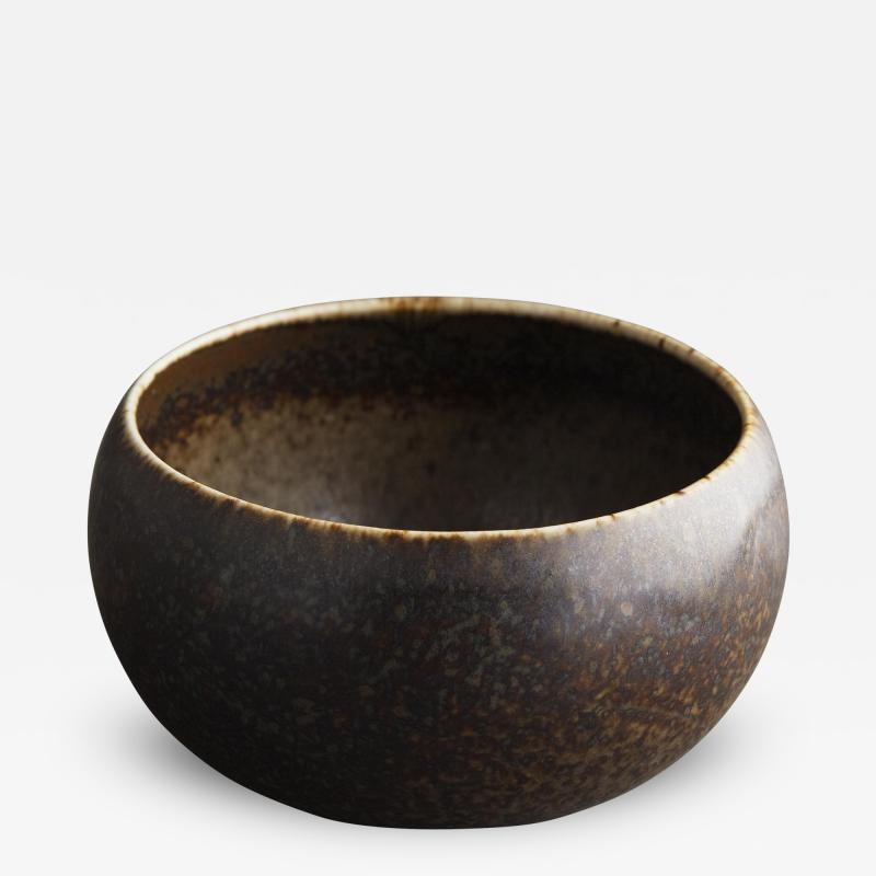 Saxbo Saxbo Small Brown Mottled Vase with Shades of Rust and Black