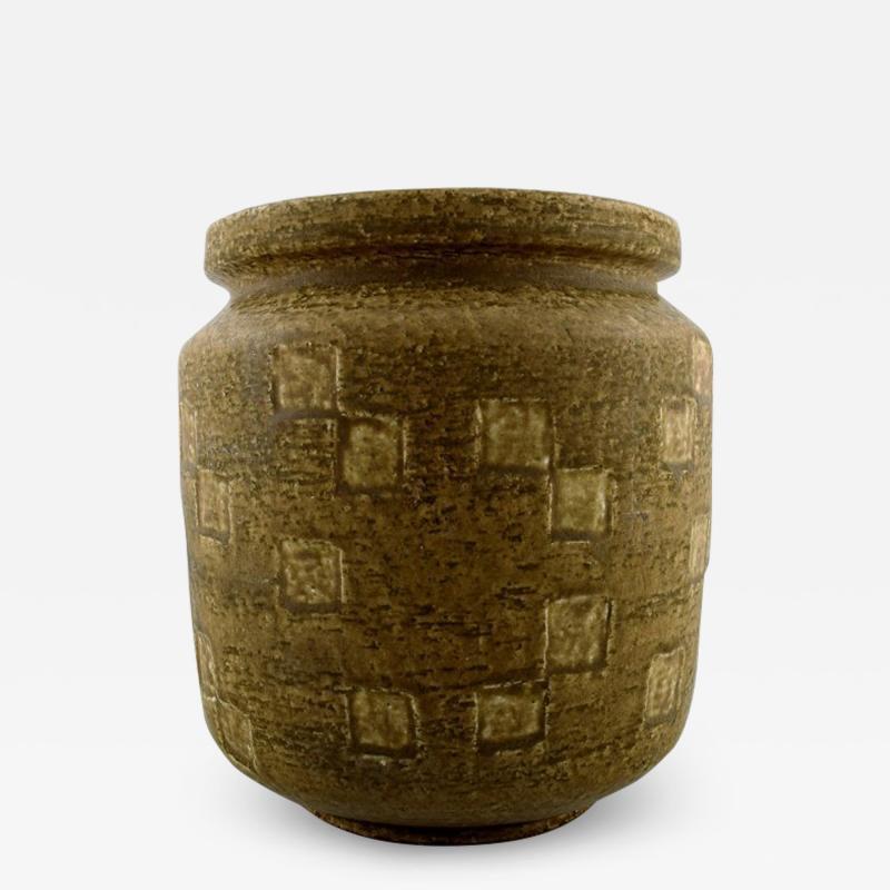 Saxbo Saxbo large stoneware vase in modern design glaze in yellow brown tones