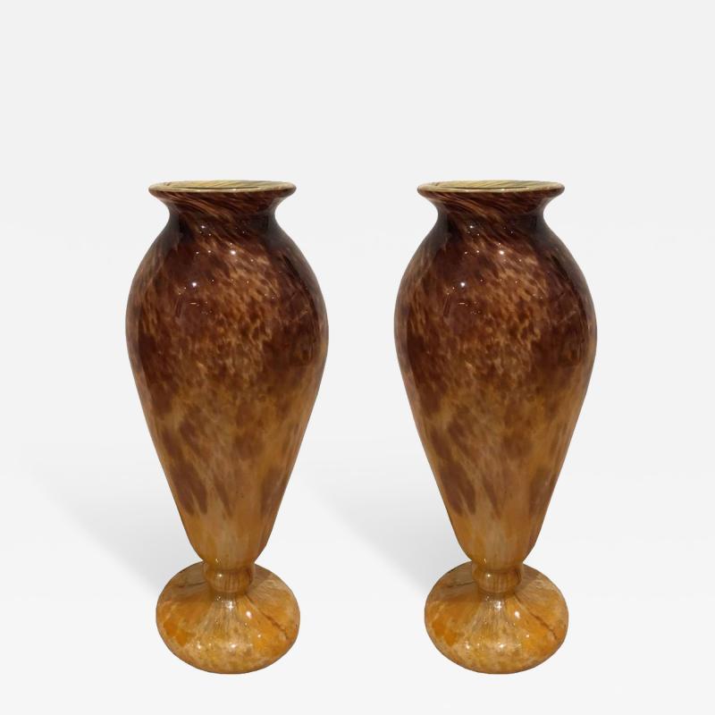 Schneider Pair of Glass Blown Vases circa 1910 Signed SCHNEIDER