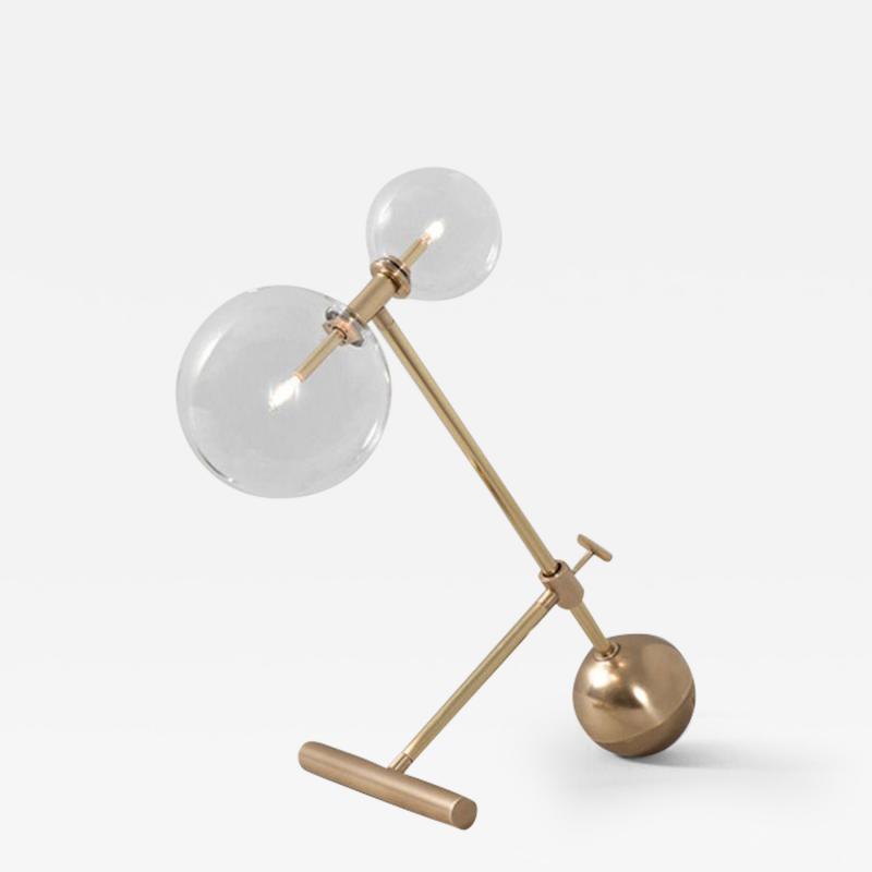 Schwung Contemporary Brass Table Lamp by Schwung