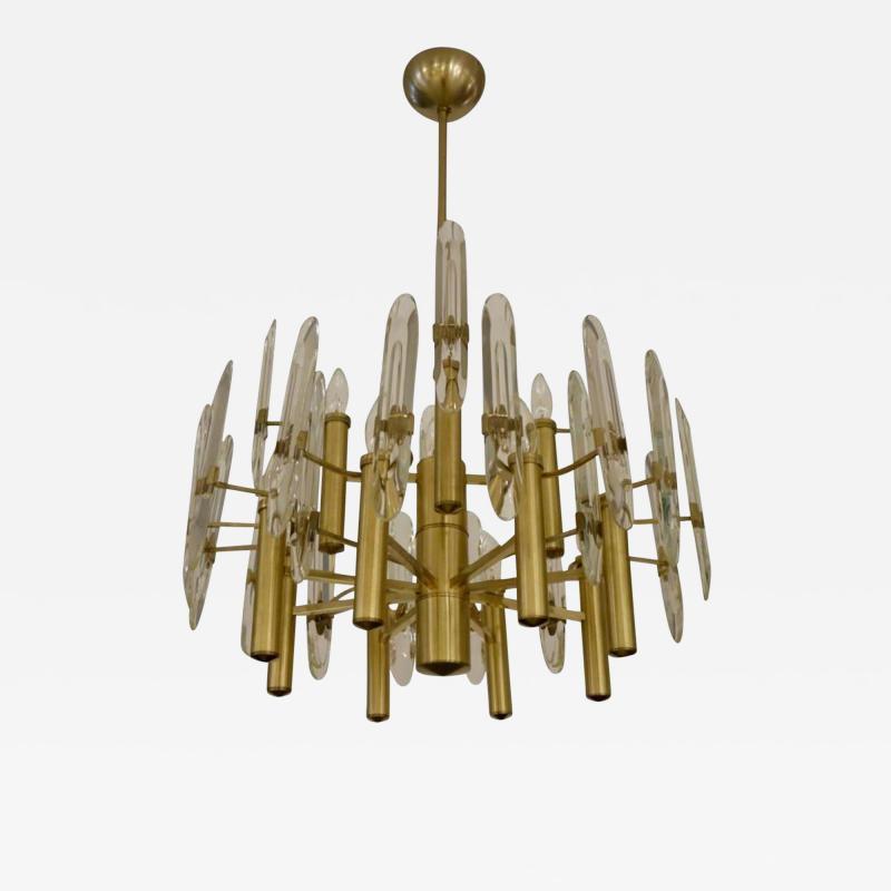 Sciolari Lighting Italian Mid Century Sciolari 12 Light Brass and Crystal Chandelier