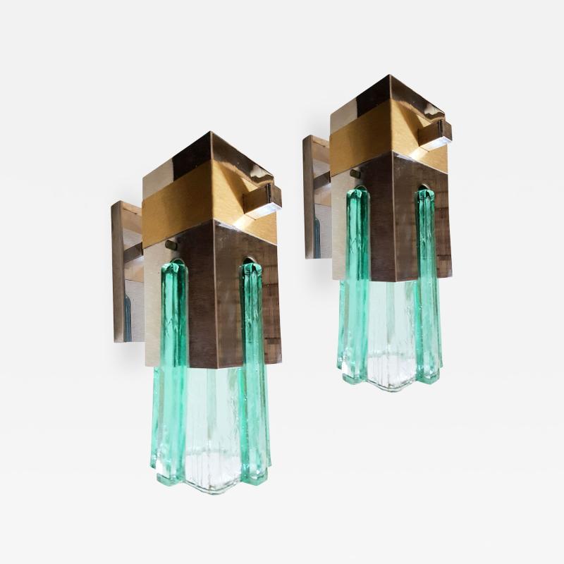 Sciolari Lighting Pair of Mid Century Modern 2 Tone Sciolari Wall Sconces