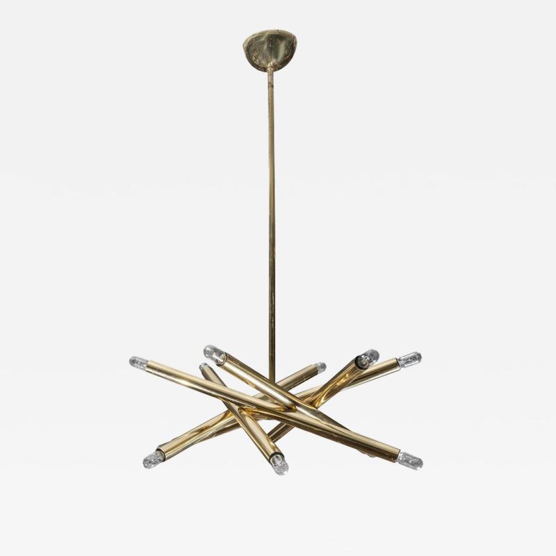 Sciolari Lighting Twelve Lights Brass Sciolari Chandelier
