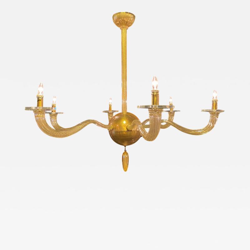 Seguso Italian Modern Handblown Gold Glass 6 Arm Stellare Chandelier Seguso