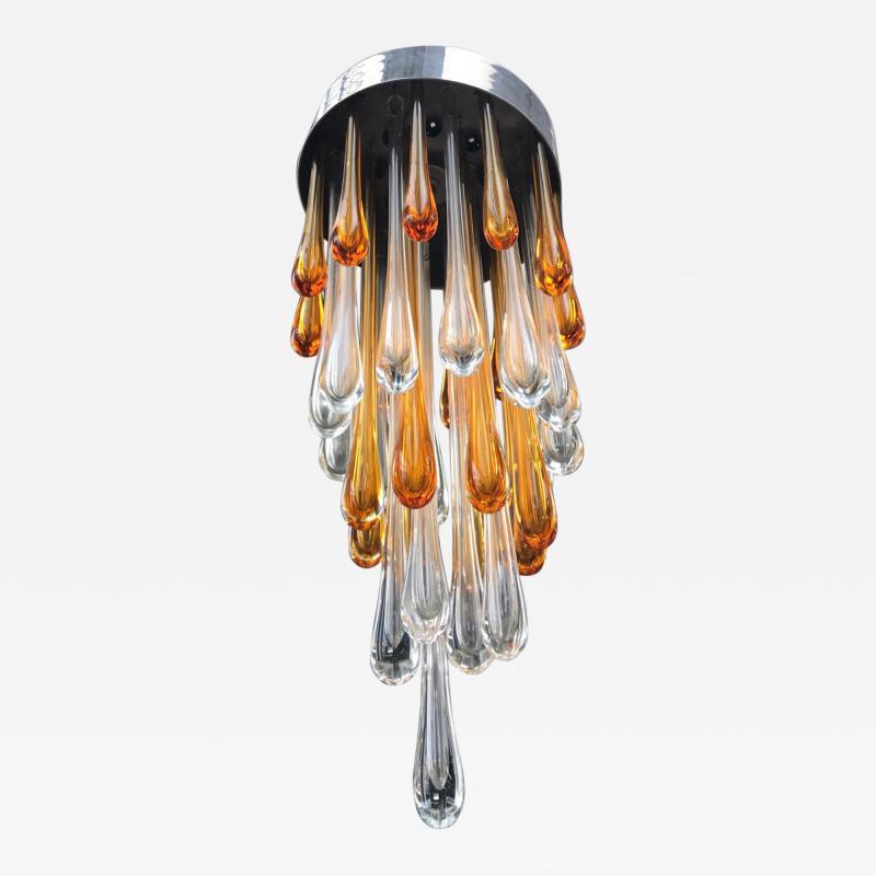 Seguso Late 1950s Ceiling Light in Murano Glass