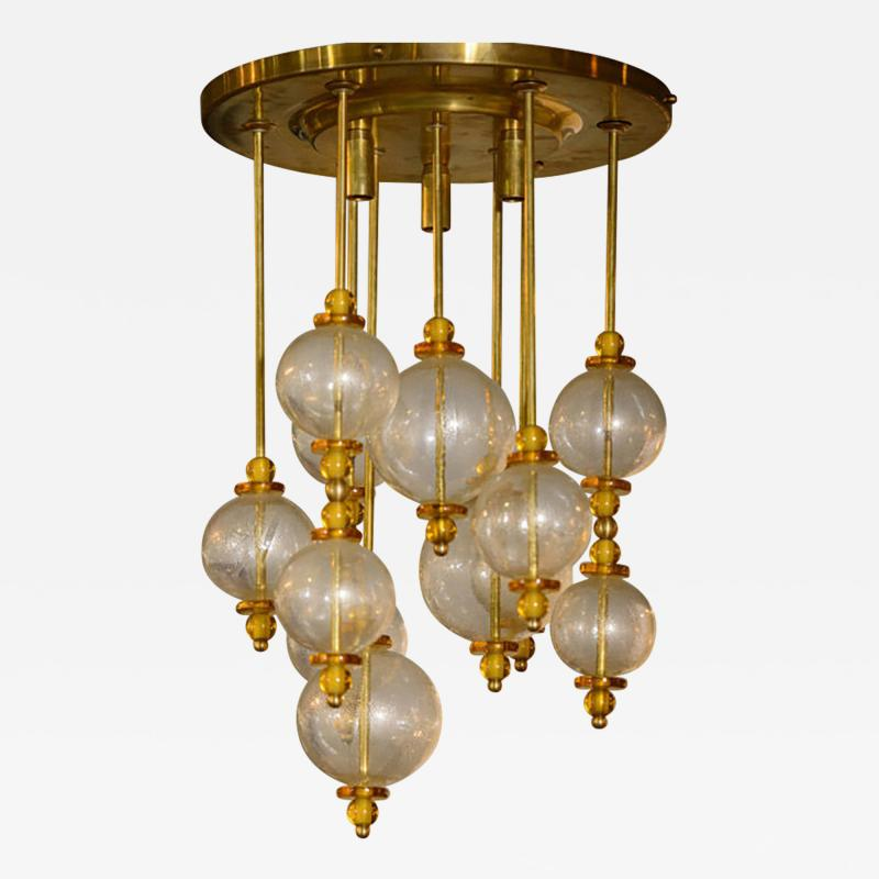 Seguso Seguso Frosted Glass Pendant Chandelier