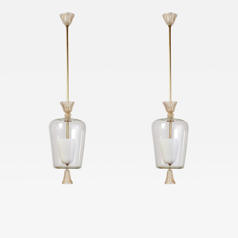 Seguso Verti d Arte Pair of Blown Glass Seguso Lantern Italy 1950s