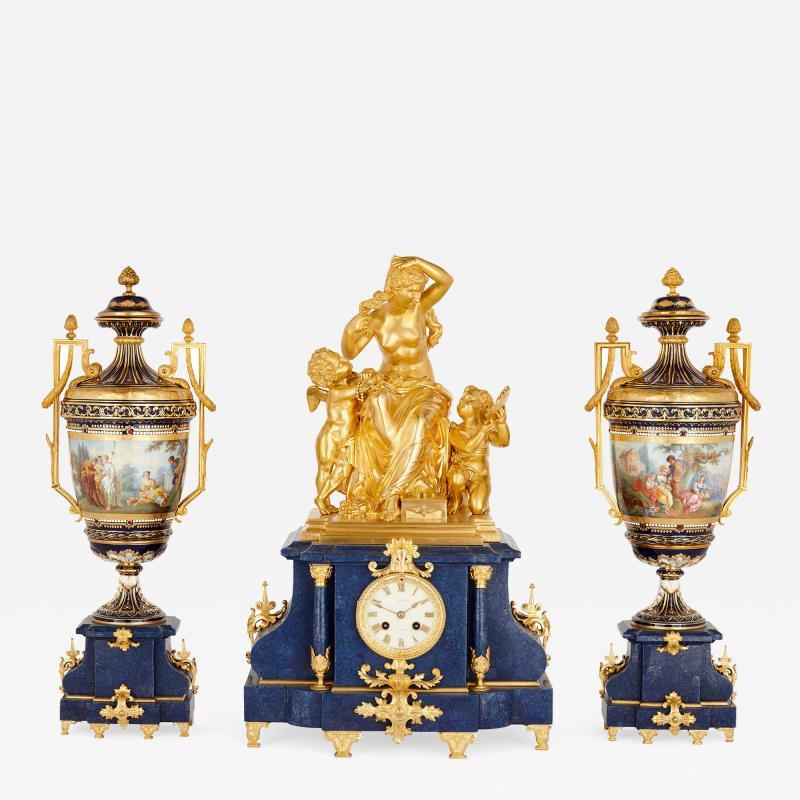 Sevres Manufacture Nationale de S vres Lapis lazuli gilt bronze and porcelain three piece clock set