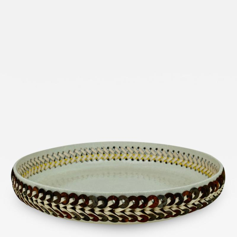 Silver Sentimenti Embroidered Decorative Ceramic Platter Gladiateur 88