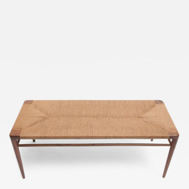 Smilow Furniture Hand Woven Rush and Walnut Bench by Smilow Furniture
