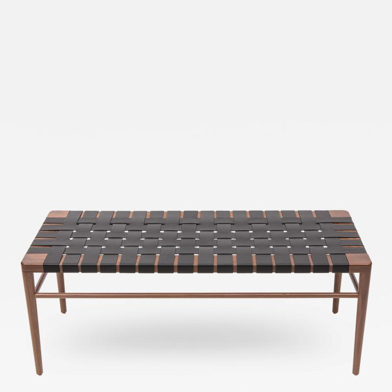 Smilow Furniture Smilow Furniture Walnut and Black Leather Webbed Bench