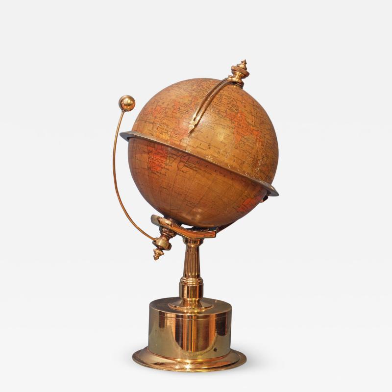 Smith Son c 1885 French Polished Brass World Time Globe Clock