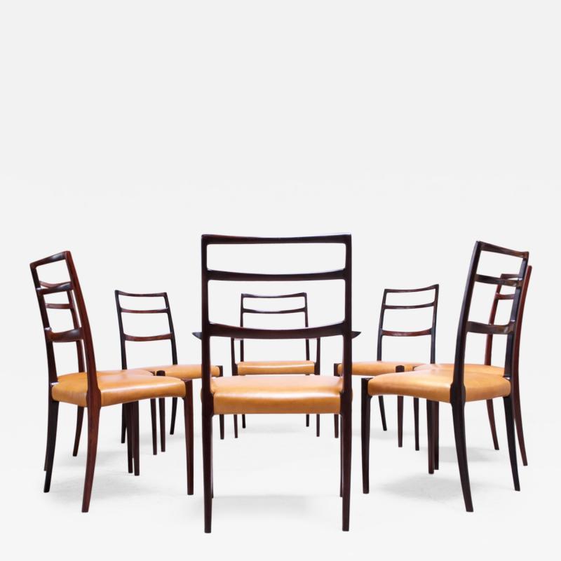 Sor M belfabrik Soro Mobelfabrik Set of Eight Danish Rosewood and Leather Dining Chairs by Sor Stolefabrik