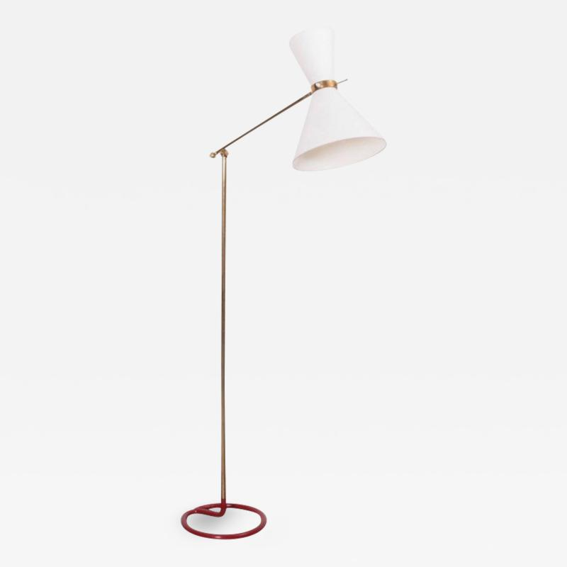 Stablet Rare Midcentury Diabolo Floor Lamp in Metal and Brass by Stablet France 1950s