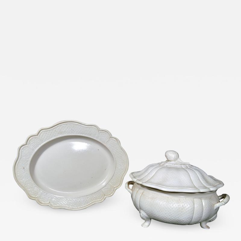 Staffordshire 18th Century Staffordshire Saltglaze Stoneware Soup Tureen Cover Stand