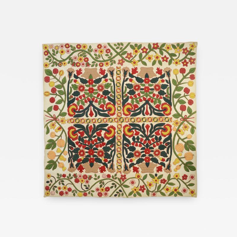Stella Rubin Original Pattern Stuffed Applique Pots of Flowers Quilt c 1850