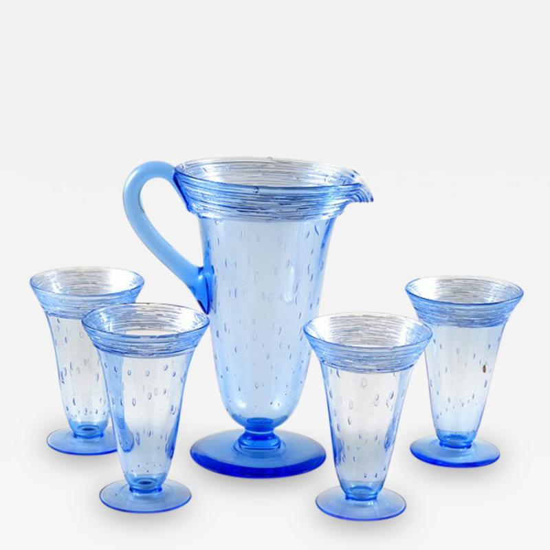 Steuben Glass Glass Lemonade Set Pitcher Four Glasses by Steuben Fry Glass Co Blue Color