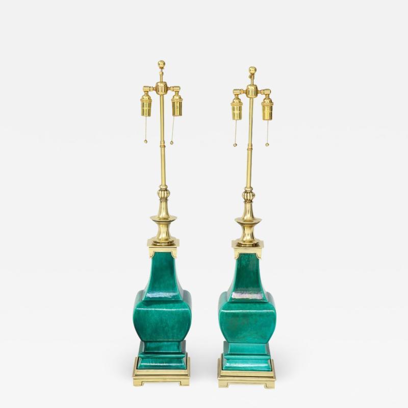 Stiffel Lamp Company Pair of Jade Green Ceramic lamps by Stiffel
