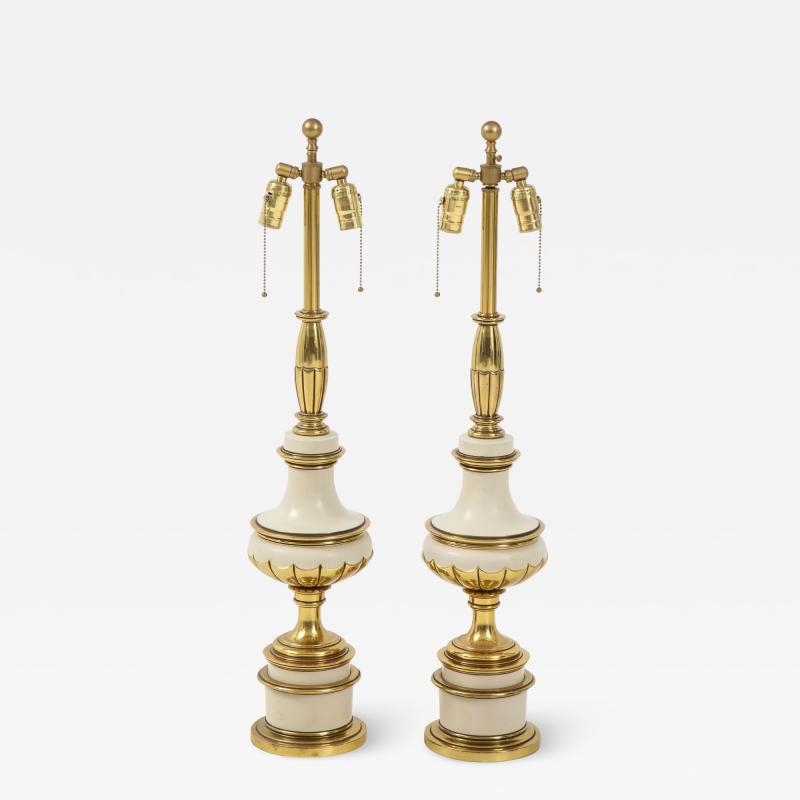 Stiffel Lamp Company Taupe Enamel Brass Hollywood Regency Lamps