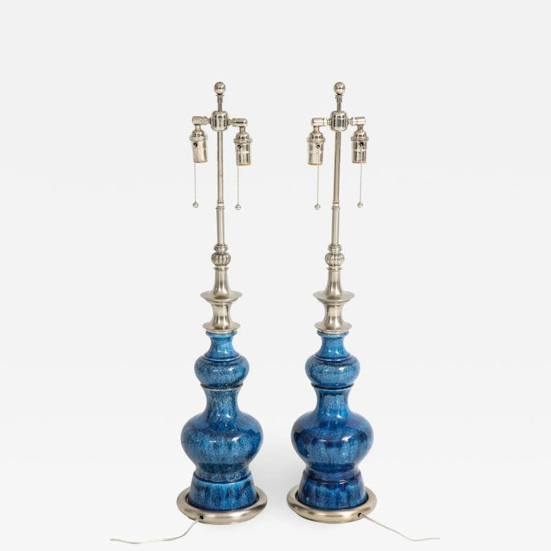 Stiffel Pair of Blue Crackle Glazed Ceramic Lamps by Stiffel