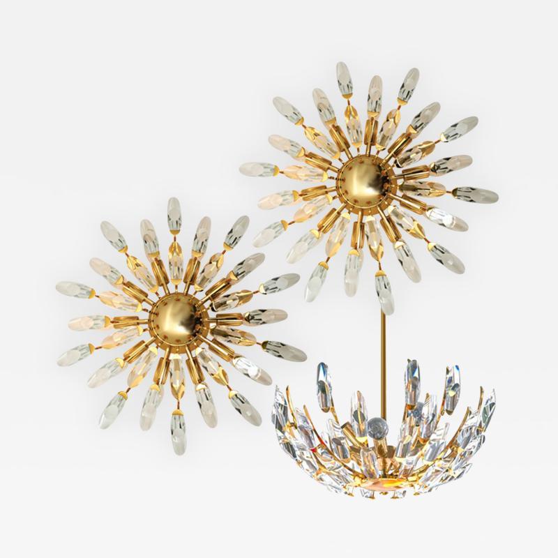Stilkronen Set of Stilkronen Crystal and Gilded Brass Italian Light Fixtures Stilkronen