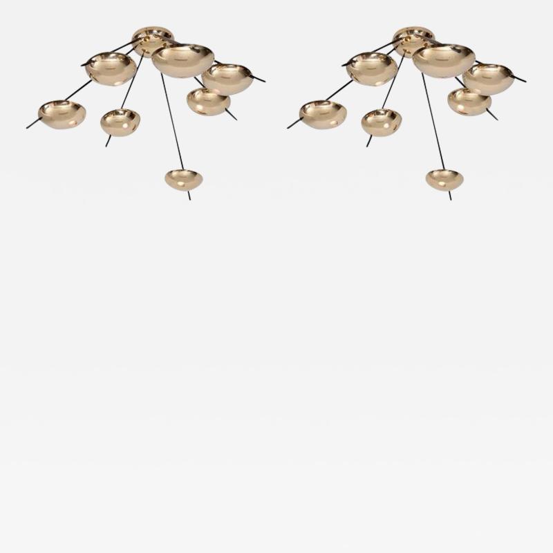 Stilnovo 1 of 2 Huge Brass Sputnik Flush Mounts or Wall Lamps Attributed to Stilnovo