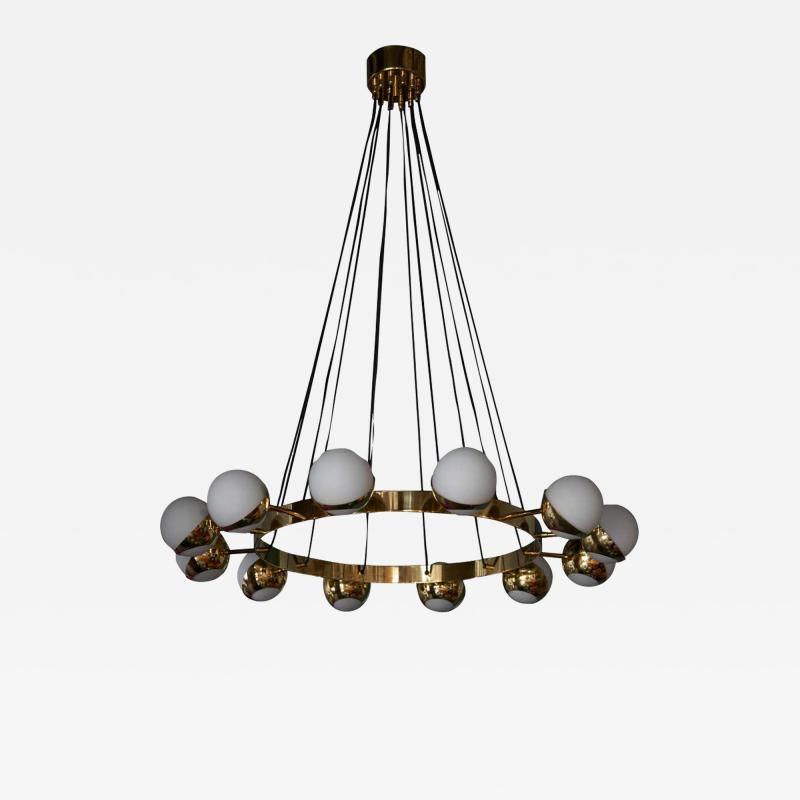 Stilnovo 1 of 2 Huge Stilnovo Style Brass and Murano Glass Chandelier
