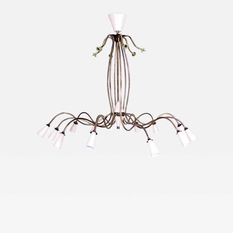 Stilnovo 1940s Splendor Italian Twelve Arm Golden Brass Chandelier in White Pistachio