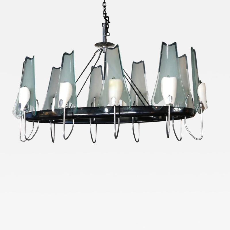 Stilnovo 1950s Italian Metal and Glass Oval Chandelier By Stilnovo
