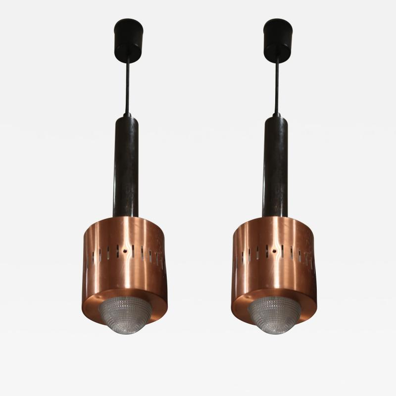 Stilnovo A pair of Metal Copper and Glass pendants by Stilnovo mod 1223 Italy 50